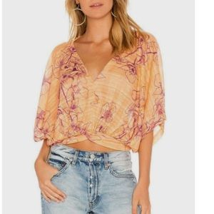Free People One Dance Floral Print Blouse